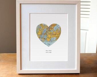 New York Heart Map, New York Print, New York Map, New York City, New York Art