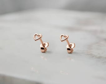Tiny Heart Earrings, Rose Gold Heart, 14K Gold Earrings, Rose Gold, Small Gold Heart, Women's Earrings, Tiny Stud Earrings, Girlfriend Gift
