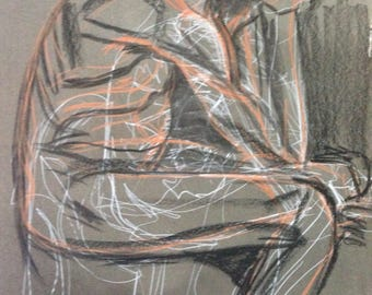 The Thinker  pastel on paper by Jain McKay RBSA