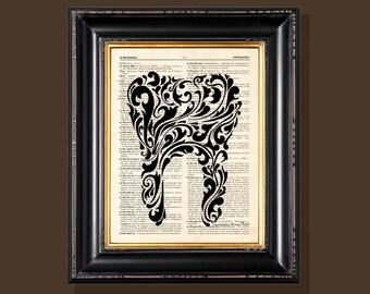 "Fine Art Print - ""Ornate Tooth"" - 8.5""x11"", Vintage Dentist print, Dentist gift, Dental Assistant gift, Dentist Office decor"