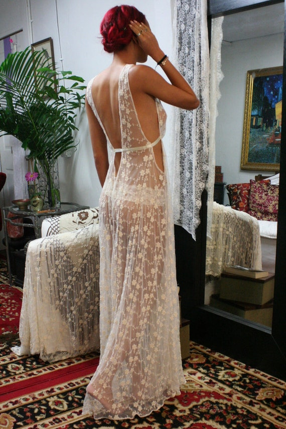 Heirloom lace bridal nightgown embroidered ivory french lace for Lingerie for wedding dress