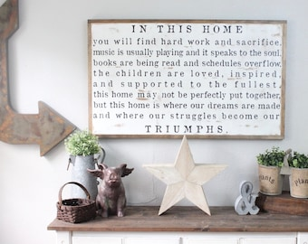 In This Home Sign, Large Wood Sign, Family Sign, Family Rules, Our