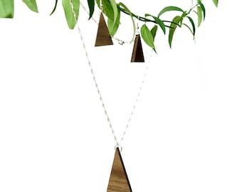 Triangle Walnut Necklace and Earrings Set | Handmade Wood Jewellery | Unique Gift Accessories