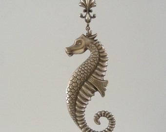 Vintage Pendant - Seahorse Necklace - Brass Stamping - DIY Necklace - Handmade