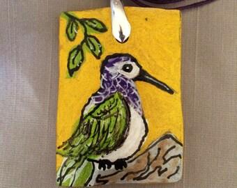 Hummingbird Gourd Necklace:  Costa's Hummingbird
