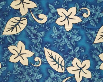 Hawaiian fabric, tropical fabric, plumeria, leaves, blue, fat quarter