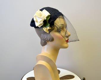 1940s Navy Straw Capulet Hat with Cream Roses