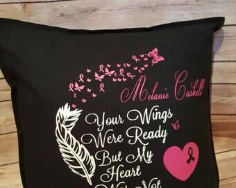 Memorial Cancer Awareness pillow, Memorial pillow, breast cancer