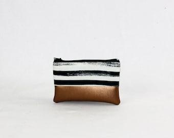 Mini bag - copper of stripes, bag, cosmetic bag, purse, make-up bag, vegan, minimalist, pouch, pencil case,.
