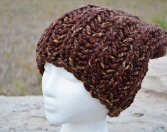 Navigator in Redwood Bark - Wool Blend Hand Knit Slouchy Watch Cap Hat, Chunky Hat, Chunky Knit Hat, Handknit Earthy Brown Fall Unisex Hat