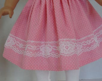 18 Inch Doll Dress/18 Inch Doll Clothes/Pink Dress with White Swiss Dots/Lace, Buttons and Puffy Sleeves