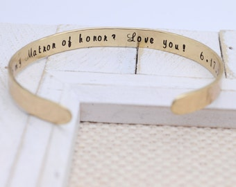 Personalized Wedding Keepsake - Bridal Jewelry Cuff Bracelet - Matron of Honor - Wedding Gifts Maid of Honor Bridesmaids Mother of the Bride