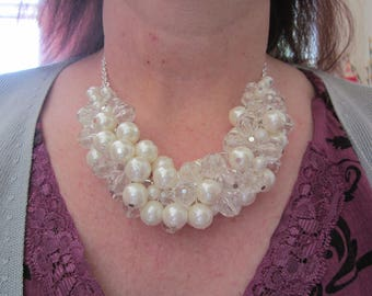 Vintage impressive white fx PEARL & clear faceted round bead S.P. chain necklace-CHOKER
