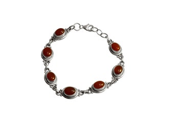 Red Onyx Bracelet set in solid sterling silver.