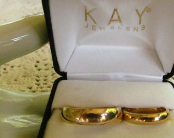 His sz 12 Hers sz 6  Wedding Rings 14K Gold Wedding Bands Set Retro New Presentation Box Kays Jewlers 14k YG wedding Rings Yellow Gold Bands