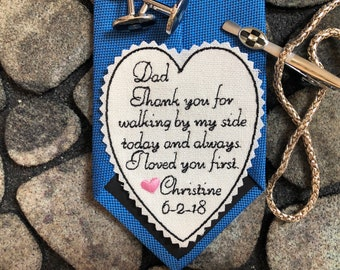 Father of Bride tie patch Personalized, Wedding Tie Patch for Dad, Embroidered Patch, Tie Label, Dad Gift, Custom patch,heart PINK