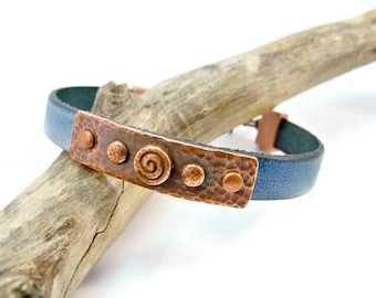 Leather Bracelet,  Copper and Leather Bracelet, Turquoise Blue Bracelet, Denim Blue Leather, Gift for Her, Mother's Day