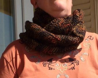 """Collar """"2 turns"""" Brown zig - zag stitch"""