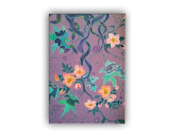 Spring landscape with flowering forest, elven art, print on canvas by batik, mauve painting, fantasy, Bistra Sirin's Art, Elven Art