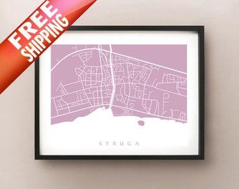 Struga Map - Macedonia Poster Print - Струга