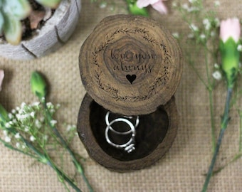 Wedding Engagement Ring Box, Proposal ring box, Custom Engraved Tree Ring Box, Wood Ring Box, Rustic Wood, Engagement Gift --31504-RBOX-006