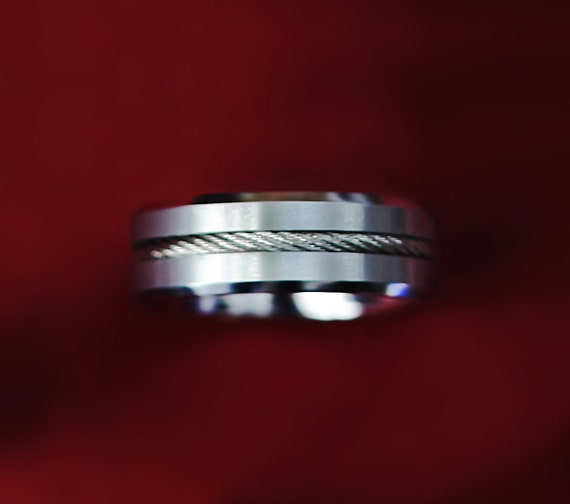 Personalized Engraved Satin Center Polished Edges Braided Steel Cable Inlay Tungsten Carbide Ring - 8mm Available - Lifetime Size Exchanges