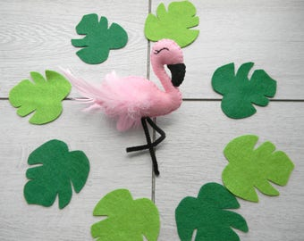 Felt flamingo ornament  Flamingo Cake Topper Hanging flamingo Pink Flamingo decoration Flamingo figurine Party favor Tropical bird
