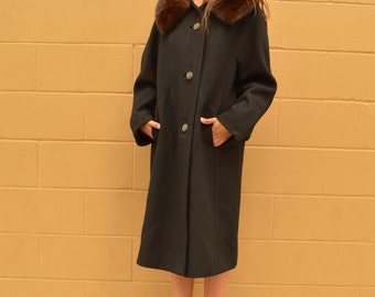 Vintage 50s Wool Coat with GENUINE Mink Collar by Rothmoor Long Jacket