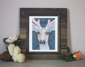 "Watercolor Art Print ""Dubious"" - Piebald Deer"