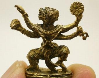Thai miniature mini amulet lord hanuman monkey king muaythai muay magic mantra ramayana Hindu life protection Thailand nice gift