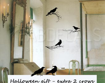 Crows Wall Decal, Branchs Wall Sticker, Halloween Decor, Black Crow, Halloween Decal, Black Wall Decals, Crow Stickers, Get 2 Crows Digt 703