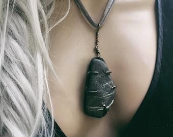 Natural stone pendant | limestone necklace, rustic stone, natural jewelry, beach jewelry, ocean jewelry, stone necklace, earthy jewelry