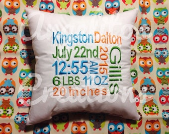 Embroidered Birth Announcement Pillow