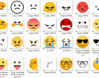 114 Emoji Clipart x 107 PNG + 7 JPG Files (And Remove Round Faces), Instant Download