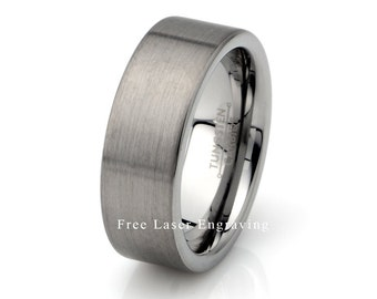 Mens Tungsten Ring, Brushed Tungsten Ring, Wedding Ring, Mens Wedding Ring, Mens Wedding Band, Mens Wedding Band, 8mm mens Ring, Anniversary