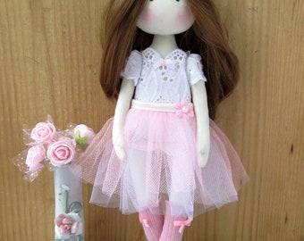 Handmade doll,Fabric doll. Rag doll,Rag doll ballerina, Doll. ballerina Doll, cloth fabric doll,soft toy for girl,ballerina,Doll,girl gift