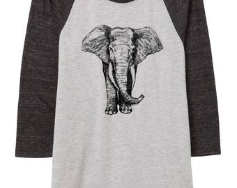 Womens Elephant illustration shirt - baseball shirt - 3/4 sleeve - clothing -fashion - black and white - illustration - elephants