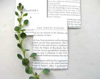 The Great Gatsby SMALL Book Page Envelopes Classic American Novel  / DELICATE Handmade Stationery Bookish 1920s Wedding Decor Favor