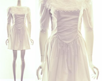 Vintage 70s Gunne Sax Gypsy Wedding Dress Short White Festival Dress Jessica McClintock m Mini Dress Bohemian pioneer priarie western Ruffle