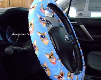 Corgi's with scarves steering wheel cover. Pet car accessories. Ships fast. Fully lined. Seat belt covers and key fob options.