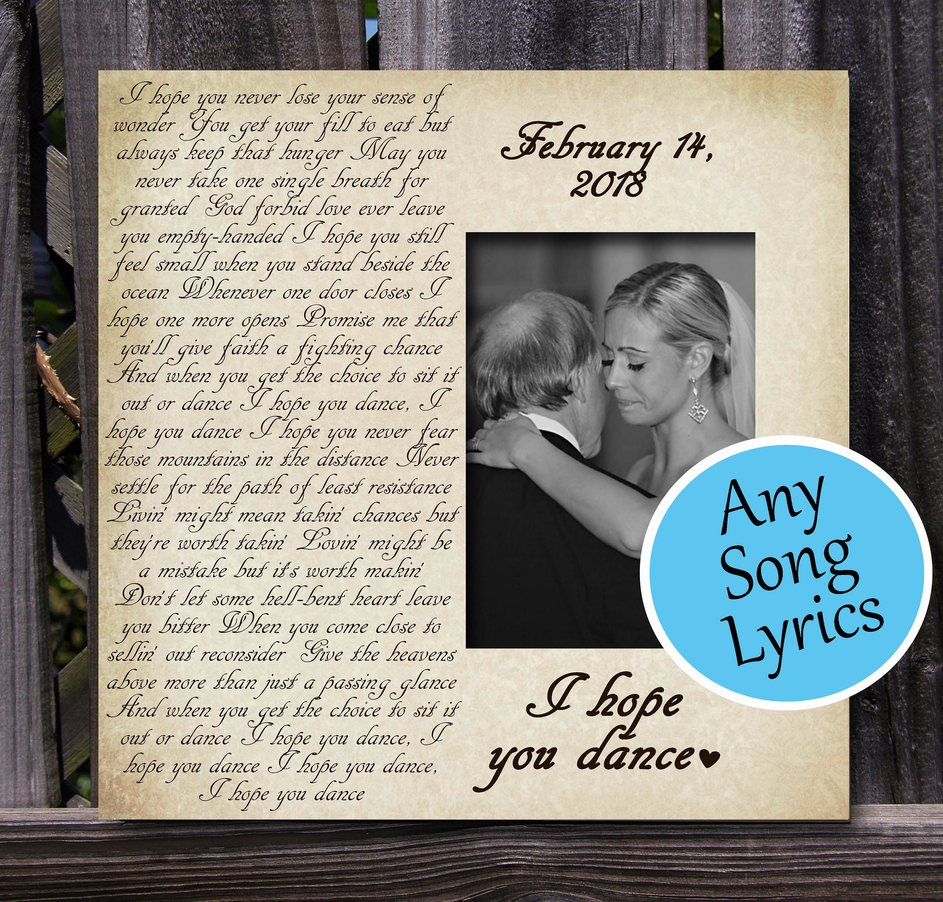 ANY Song Lyrics Picture Frame, Custom Gift, Personalized, Wedding ...