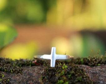 Sideways Cross Ring - Handcrafted Silver Cross Jewelry
