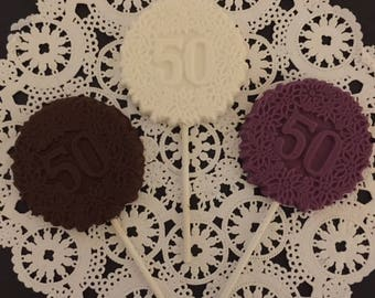 "Number ""50"" Chocolate Lollipops - 50th Birthday Party - 50th Anniversary Party - 50 and Fab Party - Number 50 Party Favor - 50th Celebration"