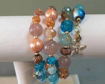 Colors of the Sea Spiral Wrap Bracelet