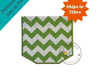 Faux pocket green chevron Iron embroidered fabric applique patch embellishment-ready to ship