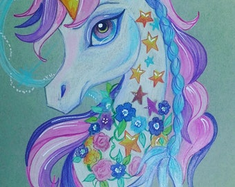 Fantasy Big Eye Fairytale Baby Unicorn Art Print by Leslie Mehl