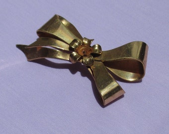 Vintage Coro Bow Shaped Metal Brooch TLC Missing Rhinestone Heavy Wear
