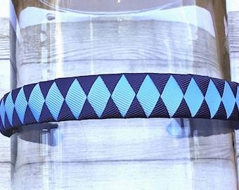 """Navy and Blue Headband 3/4"""" Back to School Headband School Uniform Headband Lt Blue and Navy Headband Blue Woven Headband Navy Headband"""