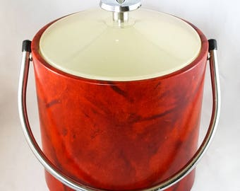 Red Marbled Letherette Mid Century Ice Bucket