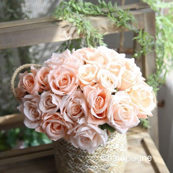 Silk Flower Bouquet Bridesmaids Bouquet Champagne Blue